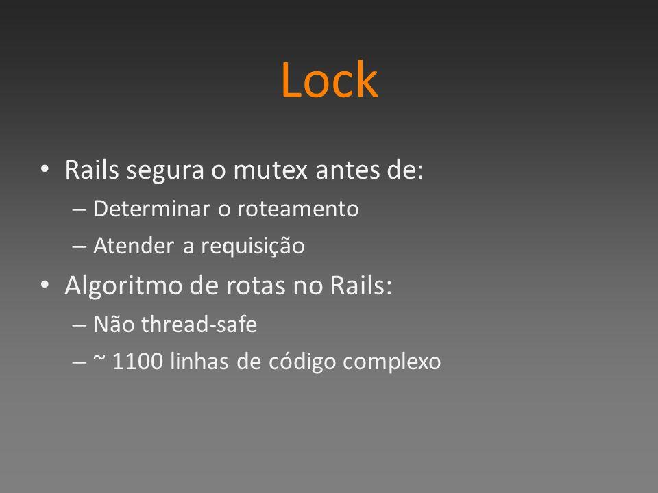 Lock Rails segura o mutex antes de: – Determinar o roteamento – Atender a requisição Algoritmo de rotas no Rails: – Não thread-safe – ~ 1100 linhas de código complexo