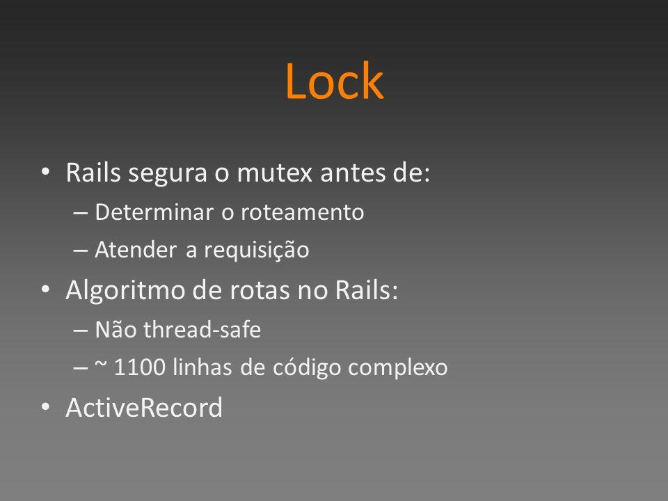 Lock Rails segura o mutex antes de: – Determinar o roteamento – Atender a requisição Algoritmo de rotas no Rails: – Não thread-safe – ~ 1100 linhas de código complexo ActiveRecord