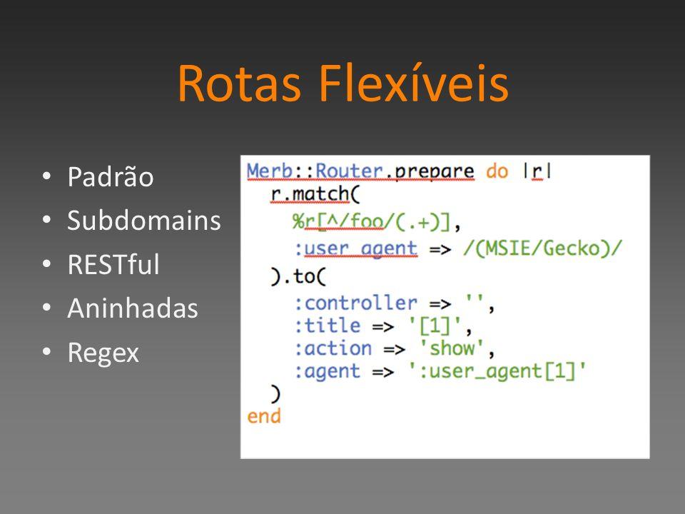 Rotas Flexíveis Padrão Subdomains RESTful Aninhadas Regex