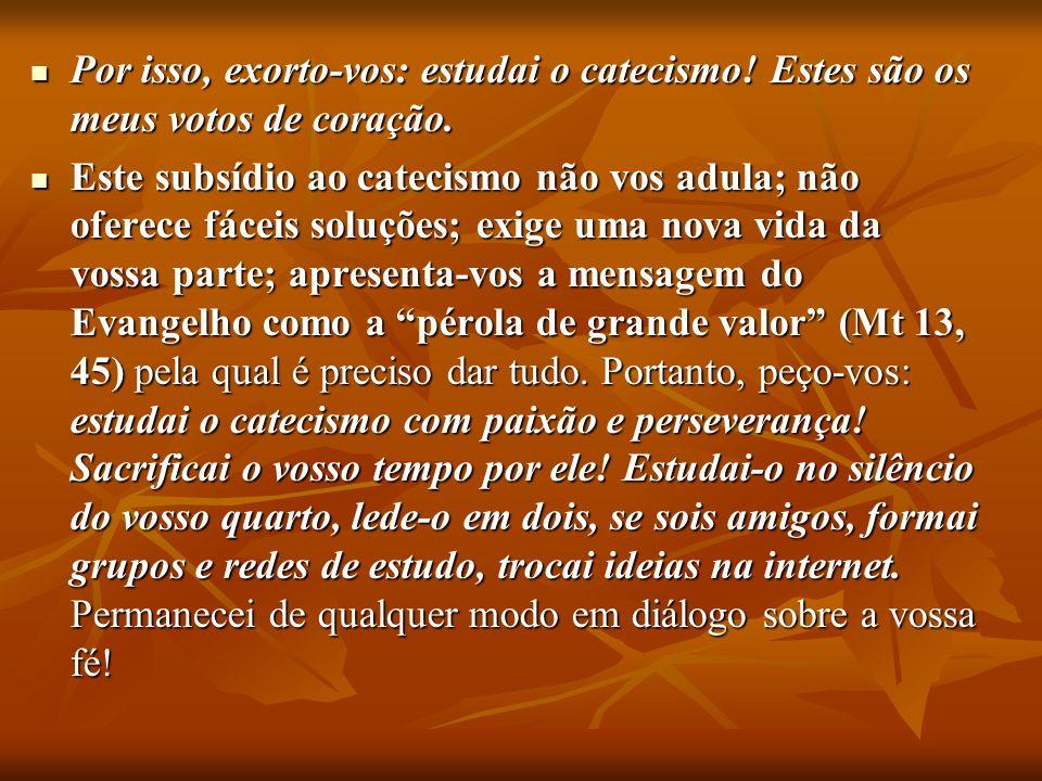 Por isso, exorto-vos: estudai o catecismo! Estes são os meus votos de coração. Por isso, exorto-vos: estudai o catecismo! Estes são os meus votos de c