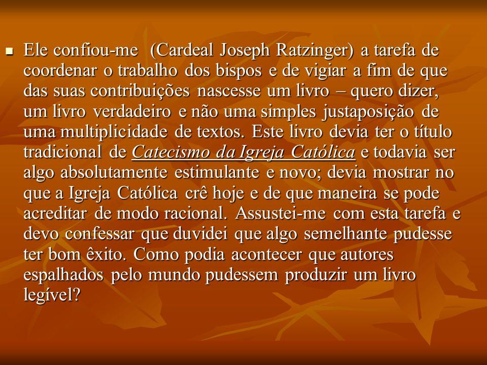 Ele confiou-me (Cardeal Joseph Ratzinger) a tarefa de coordenar o trabalho dos bispos e de vigiar a fim de que das suas contribuições nascesse um livr