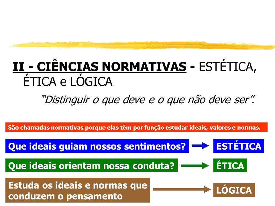 II - CIÊNCIAS NORMATIVAS - ESTÉTICA, ÉTICA e LÓGICA Distinguir o que deve e o que não deve ser. São chamadas normativas porque elas têm por função est