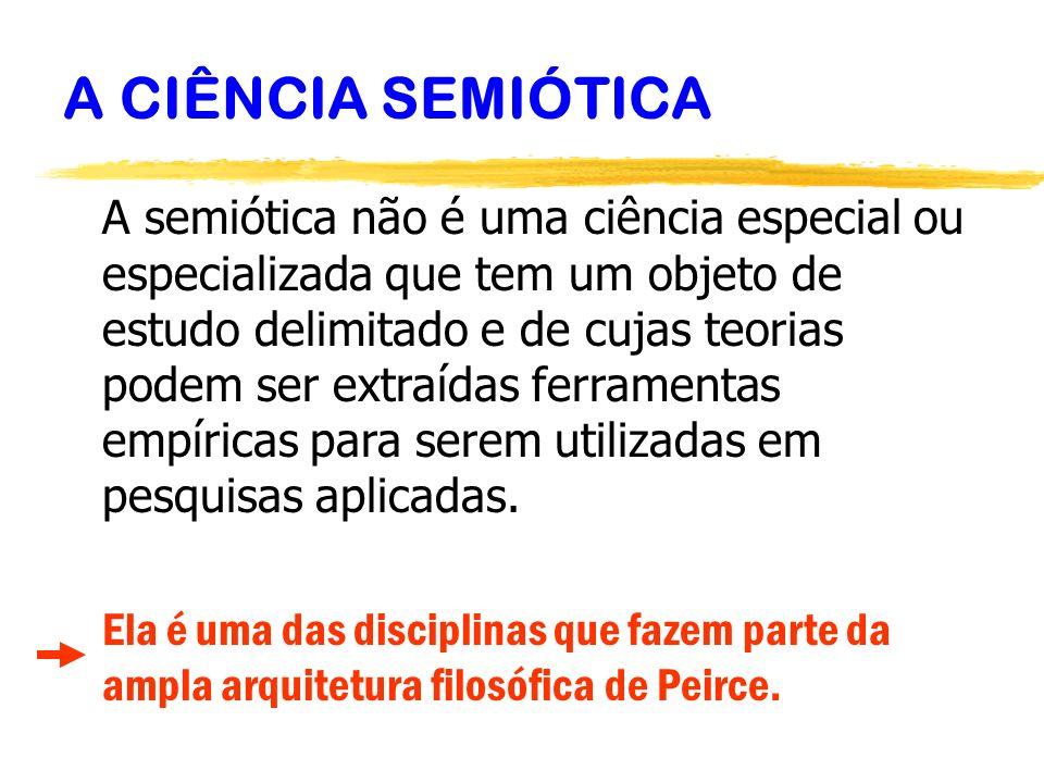 A CIÊNCIA SEMIÓTICA A semiótica não é uma ciência especial ou especializada que tem um objeto de estudo delimitado e de cujas teorias podem ser extraí