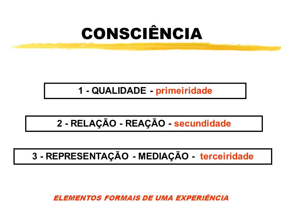 CONSCIÊNCIA 1 - QUALIDADE - primeiridade 2 - RELAÇÃO - REAÇÃO - secundidade 3 - REPRESENTAÇÃO - MEDIAÇÃO - terceiridade ELEMENTOS FORMAIS DE UMA EXPER