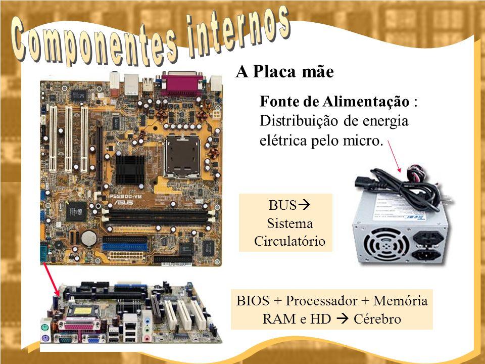 BIOS + Processador + Memória RAM e HD Cérebro A Placa mãe Fonte de Alimentação : Distribuição de energia elétrica pelo micro. BUS Sistema Circulatório