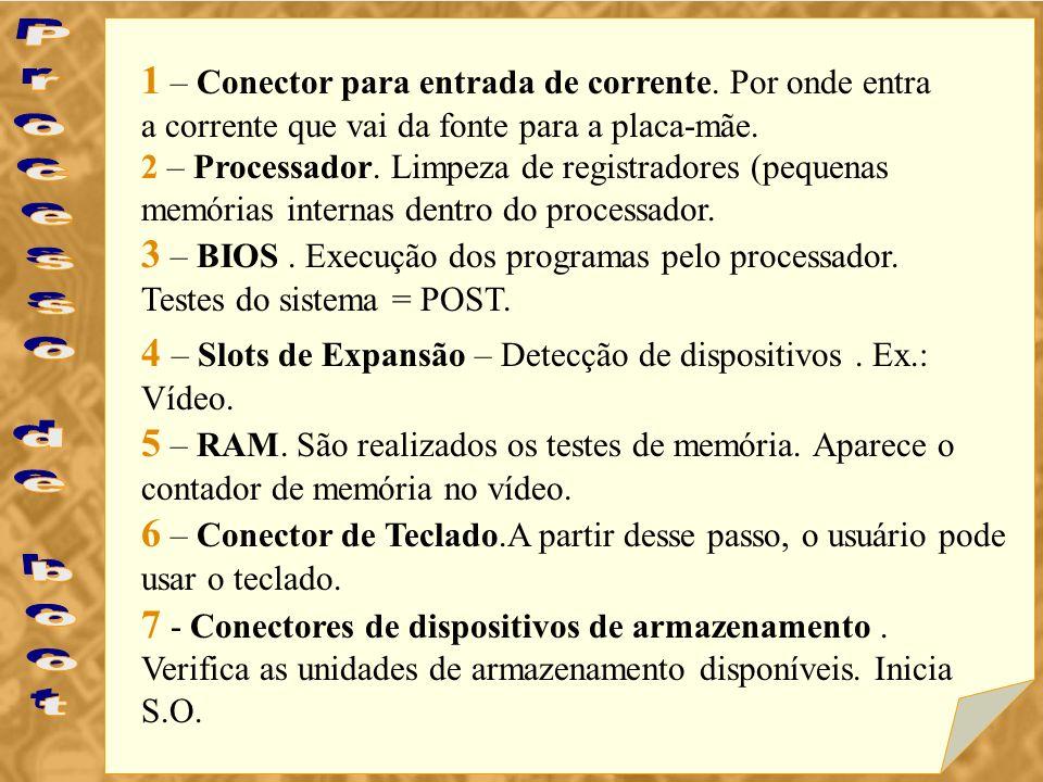1 – Conector para entrada de corrente. Por onde entra a corrente que vai da fonte para a placa-mãe. 2 – Processador. Limpeza de registradores (pequena