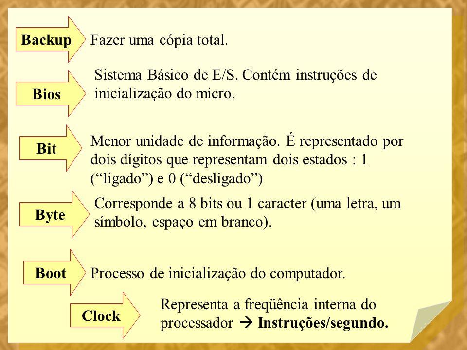 Backup Fazer uma cópia total. Bios Sistema Básico de E/S. Contém instruções de inicialização do micro. Bit Menor unidade de informação. É representado