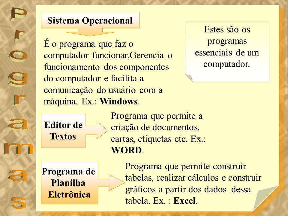Estes são os programas essenciais de um computador. Programa que permite a criação de documentos, cartas, etiquetas etc. Ex.: WORD. É o programa que f