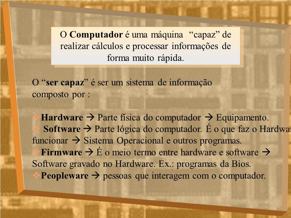 O Computador é uma máquina capaz de realizar cálculos e processar informações de forma muito rápida. O ser capaz é ser um sistema de informação compos