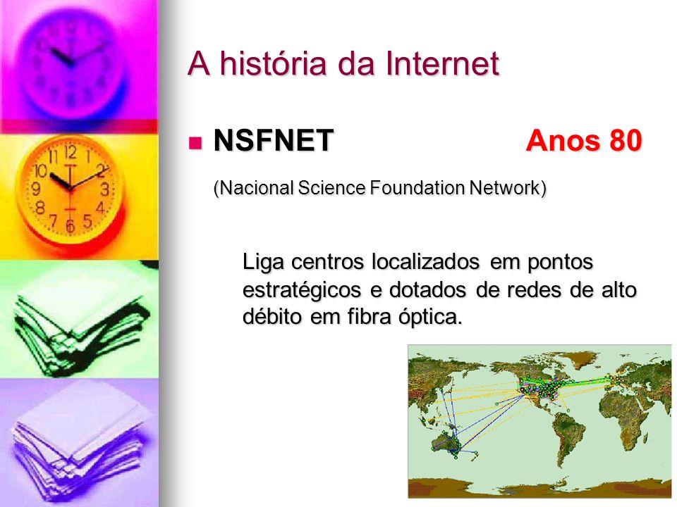 A história da Internet NSFNET Anos 80 NSFNET Anos 80 (Nacional Science Foundation Network) Liga centros localizados em pontos estratégicos e dotados d