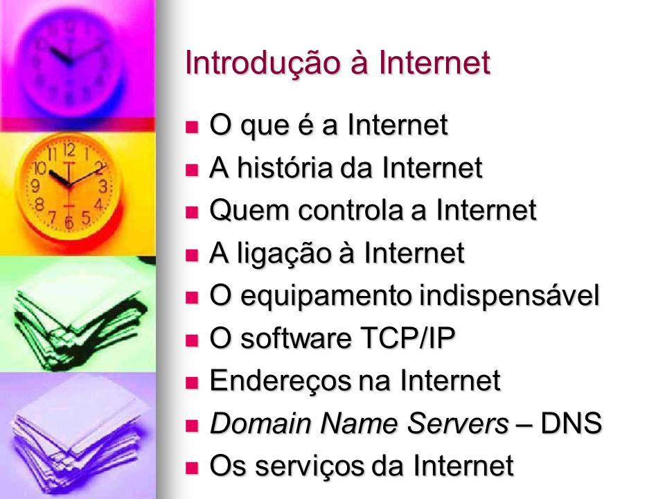 Introdução à Internet O que é a Internet O que é a Internet A história da Internet A história da Internet Quem controla a Internet Quem controla a Int