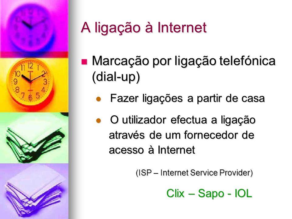 A ligação à Internet Marcação por ligação telefónica (dial-up) Marcação por ligação telefónica (dial-up) Fazer ligações a partir de casa Fazer ligaçõe