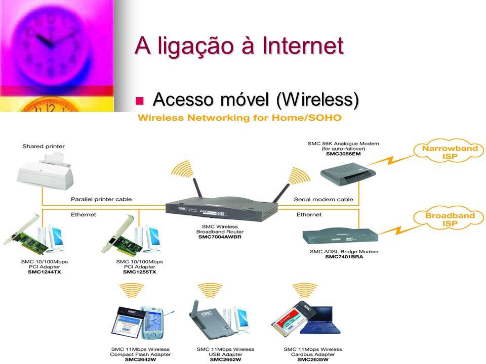 A ligação à Internet Acesso móvel (Wireless) Acesso móvel (Wireless)