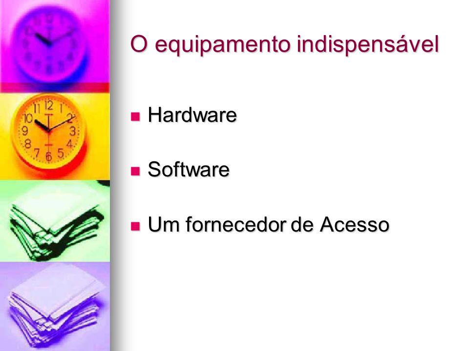 O equipamento indispensável Hardware Hardware Software Software Um fornecedor de Acesso Um fornecedor de Acesso