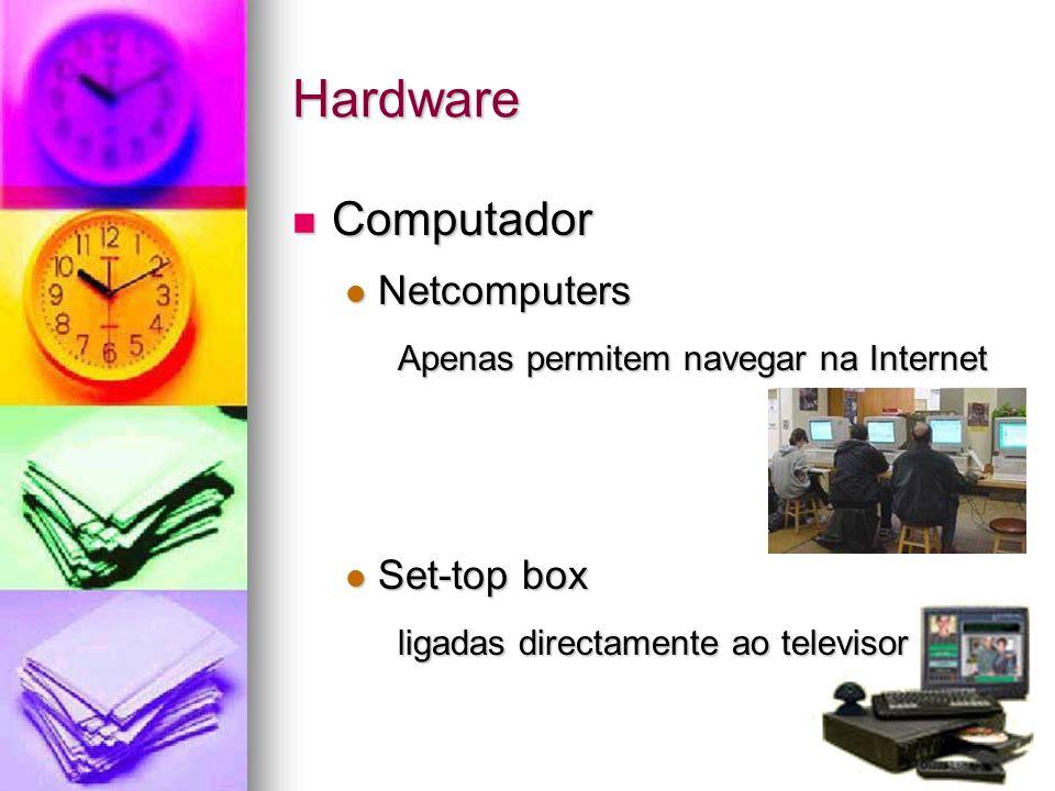 Hardware Computador Computador Netcomputers Netcomputers Apenas permitem navegar na Internet Set-top box Set-top box ligadas directamente ao televisor