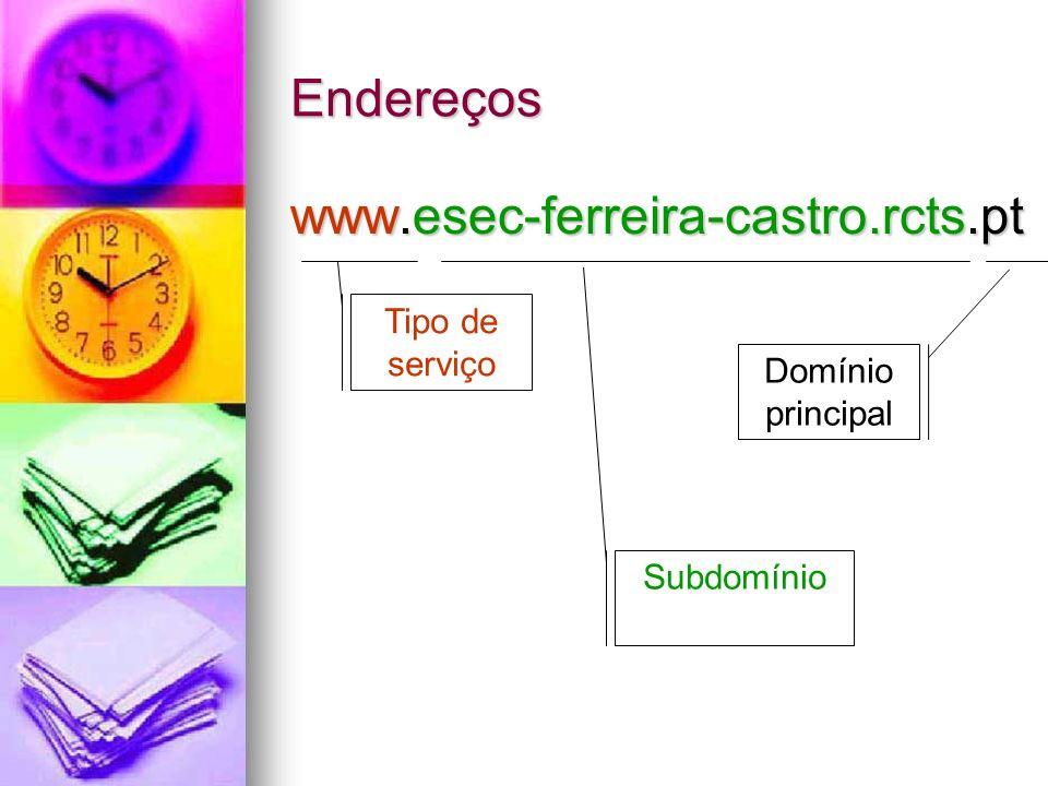 Endereços www.esec-ferreira-castro.rcts.pt Tipo de serviço Subdomínio Domínio principal