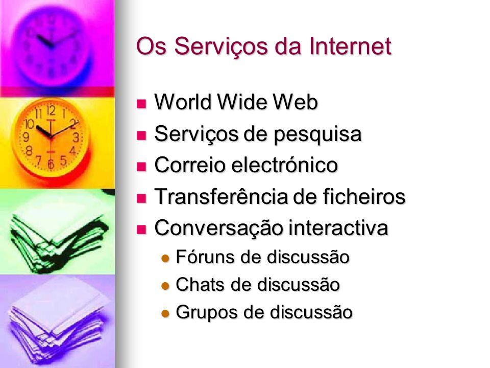 Os Serviços da Internet World Wide Web World Wide Web Serviços de pesquisa Serviços de pesquisa Correio electrónico Correio electrónico Transferência