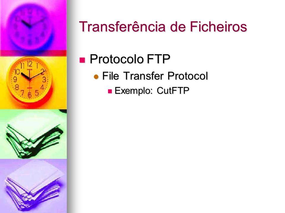 Transferência de Ficheiros Protocolo FTP Protocolo FTP File Transfer Protocol File Transfer Protocol Exemplo: CutFTP Exemplo: CutFTP
