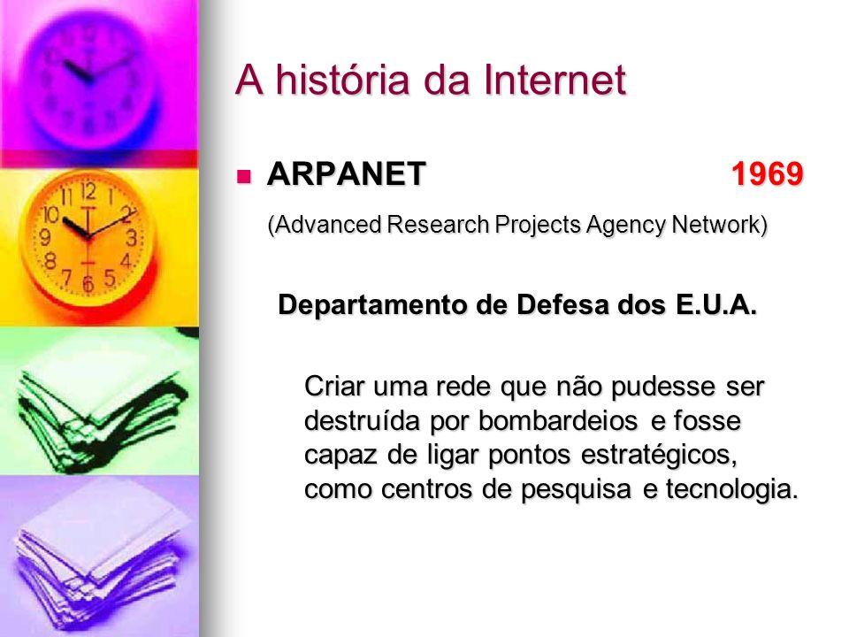 A história da Internet ARPANET 1969 ARPANET 1969 (Advanced Research Projects Agency Network) Departamento de Defesa dos E.U.A. Criar uma rede que não