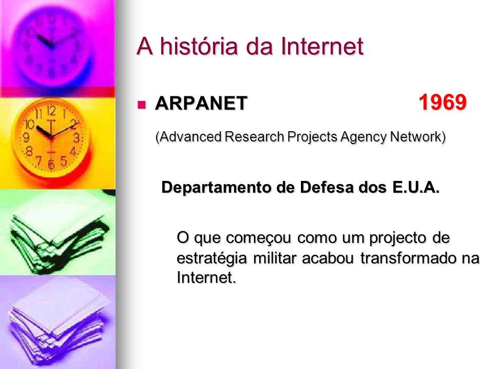 A história da Internet ARPANET 1969 ARPANET 1969 (Advanced Research Projects Agency Network) Departamento de Defesa dos E.U.A. O que começou como um p