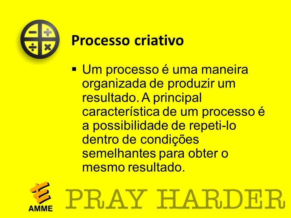 Processo criativo Um processo é uma maneira organizada de produzir um resultado. A principal característica de um processo é a possibilidade de repeti