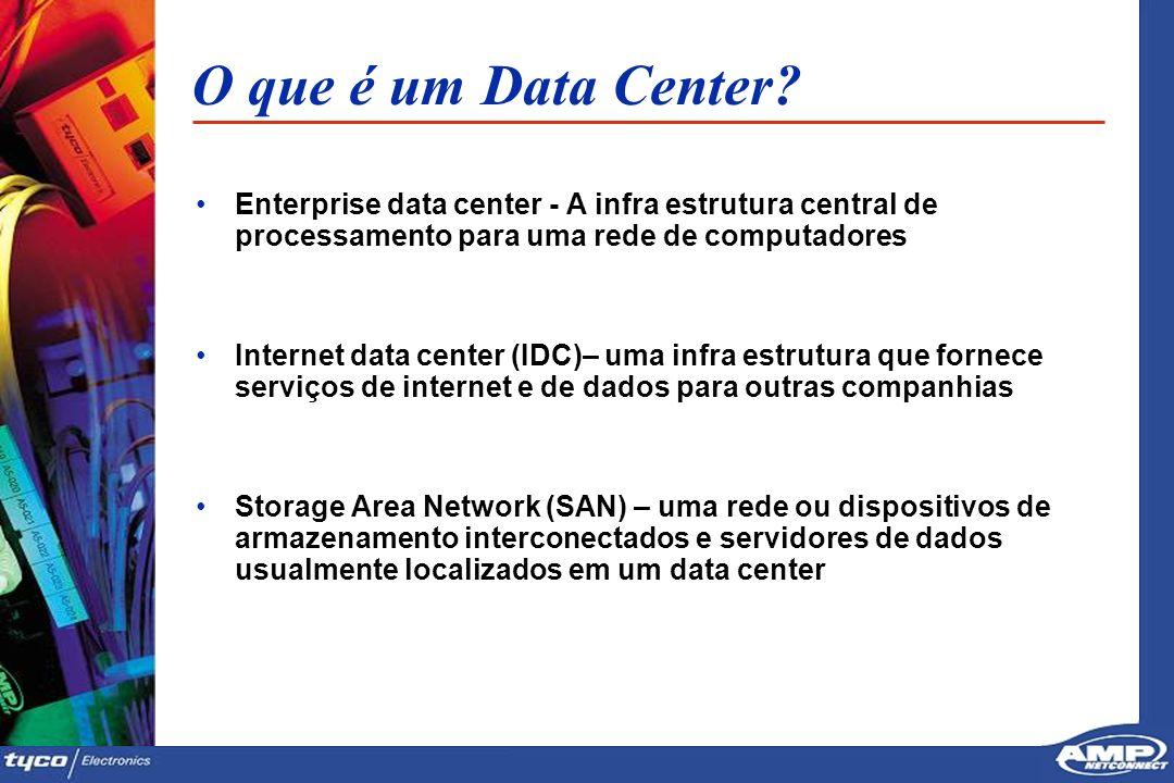 3 O que é um Data Center? Enterprise data center - A infra estrutura central de processamento para uma rede de computadores Internet data center (IDC)