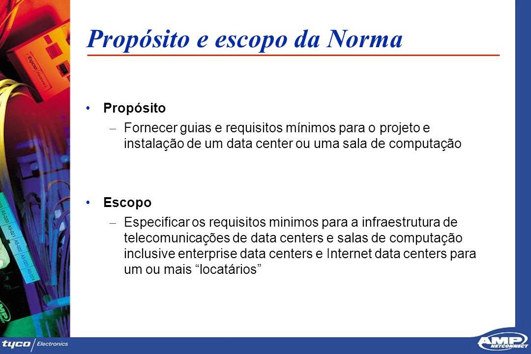 8 Propósito e escopo da Norma Propósito Fornecer guias e requisitos mínimos para o projeto e instalação de um data center ou uma sala de computação Es