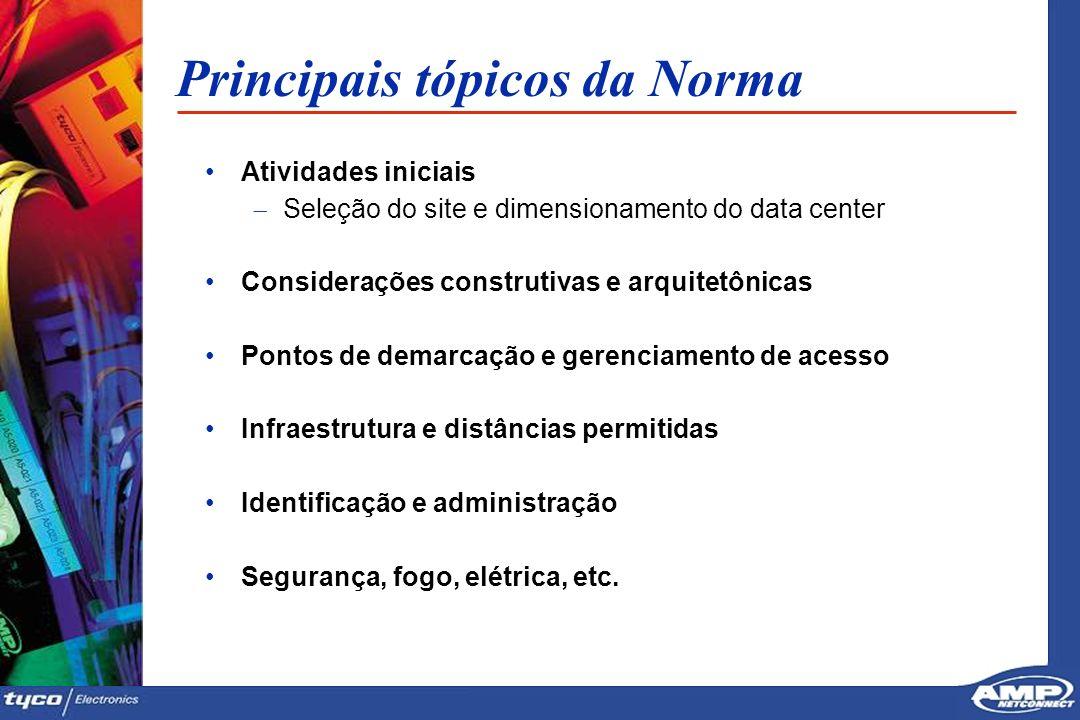 9 Principais tópicos da Norma Atividades iniciais Seleção do site e dimensionamento do data center Considerações construtivas e arquitetônicas Pontos