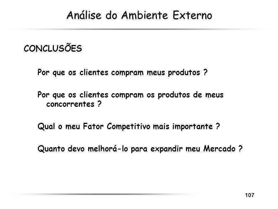 107 Análise do Ambiente Externo CONCLUSÕES Por que os clientes compram meus produtos ? Por que os clientes compram os produtos de meus concorrentes ?