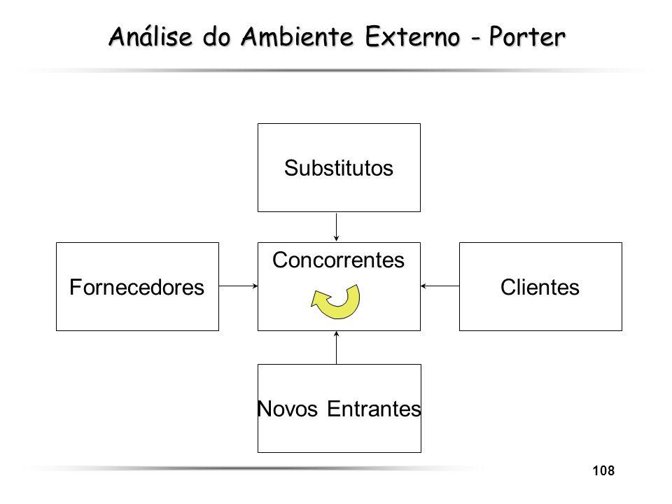 108 FornecedoresClientes Substitutos Novos Entrantes Concorrentes Análise do Ambiente Externo - Porter