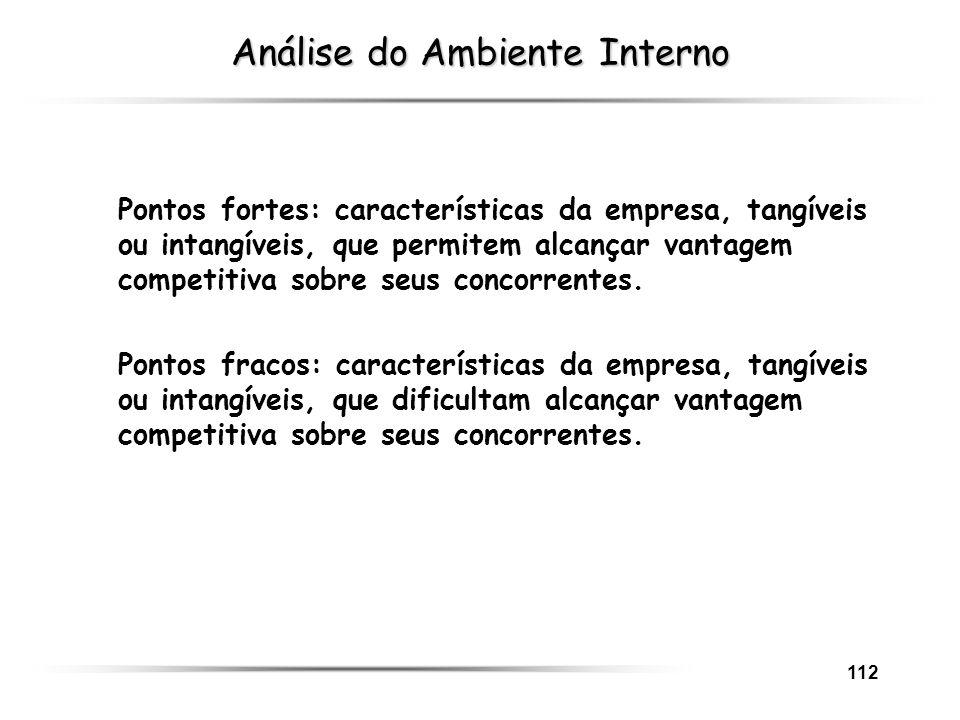 112 Análise do Ambiente Interno Pontos fortes: características da empresa, tangíveis ou intangíveis, que permitem alcançar vantagem competitiva sobre