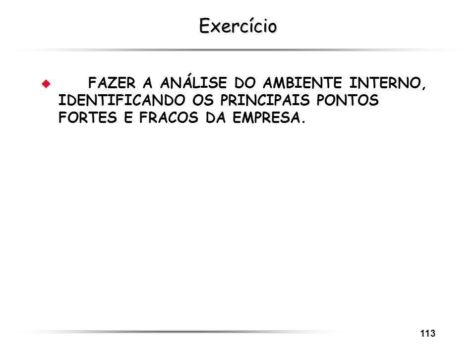113 Exercício u FAZER A ANÁLISE DO AMBIENTE INTERNO, IDENTIFICANDO OS PRINCIPAIS PONTOS FORTES E FRACOS DA EMPRESA.