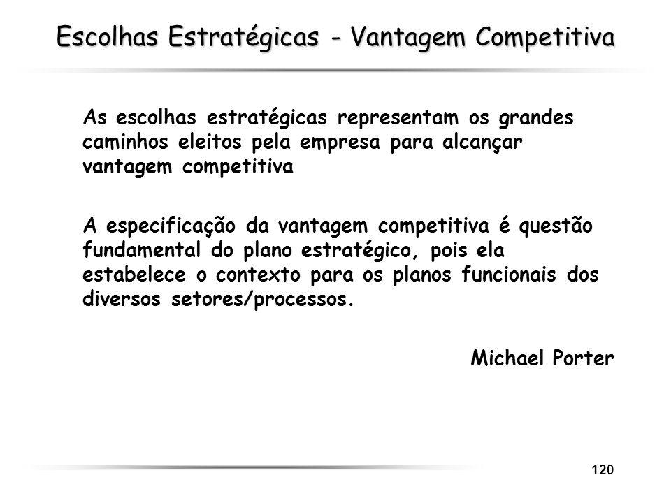 120 Escolhas Estratégicas - Vantagem Competitiva As escolhas estratégicas representam os grandes caminhos eleitos pela empresa para alcançar vantagem