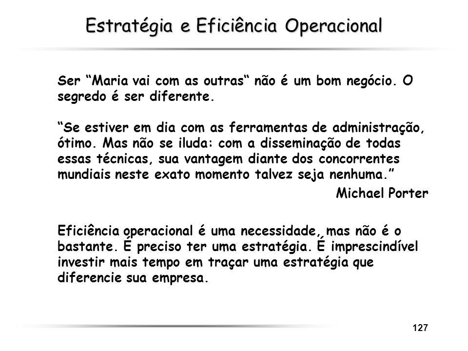 127 Estratégia e Eficiência Operacional Ser Maria vai com as outras não é um bom negócio. O segredo é ser diferente. Se estiver em dia com as ferramen