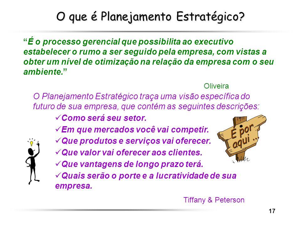 17 O que é Planejamento Estratégico? É o processo gerencial que possibilita ao executivo estabelecer o rumo a ser seguido pela empresa, com vistas a o