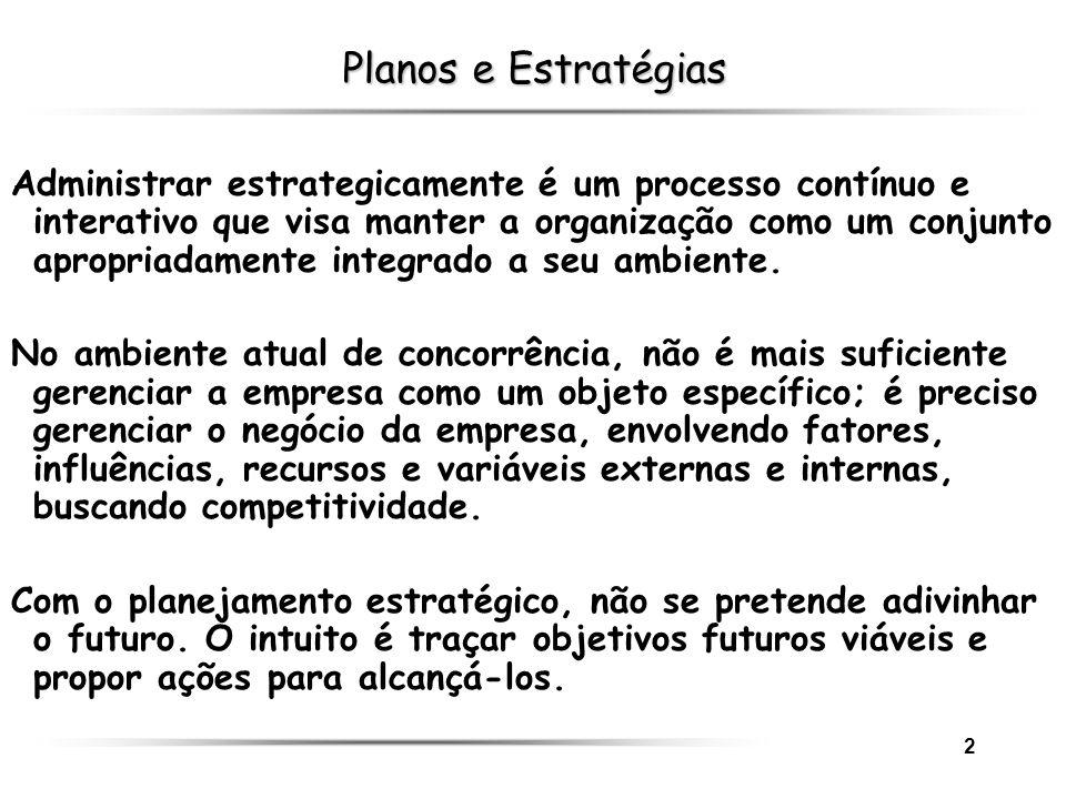 2 Planos e Estratégias Administrar estrategicamente é um processo contínuo e interativo que visa manter a organização como um conjunto apropriadamente