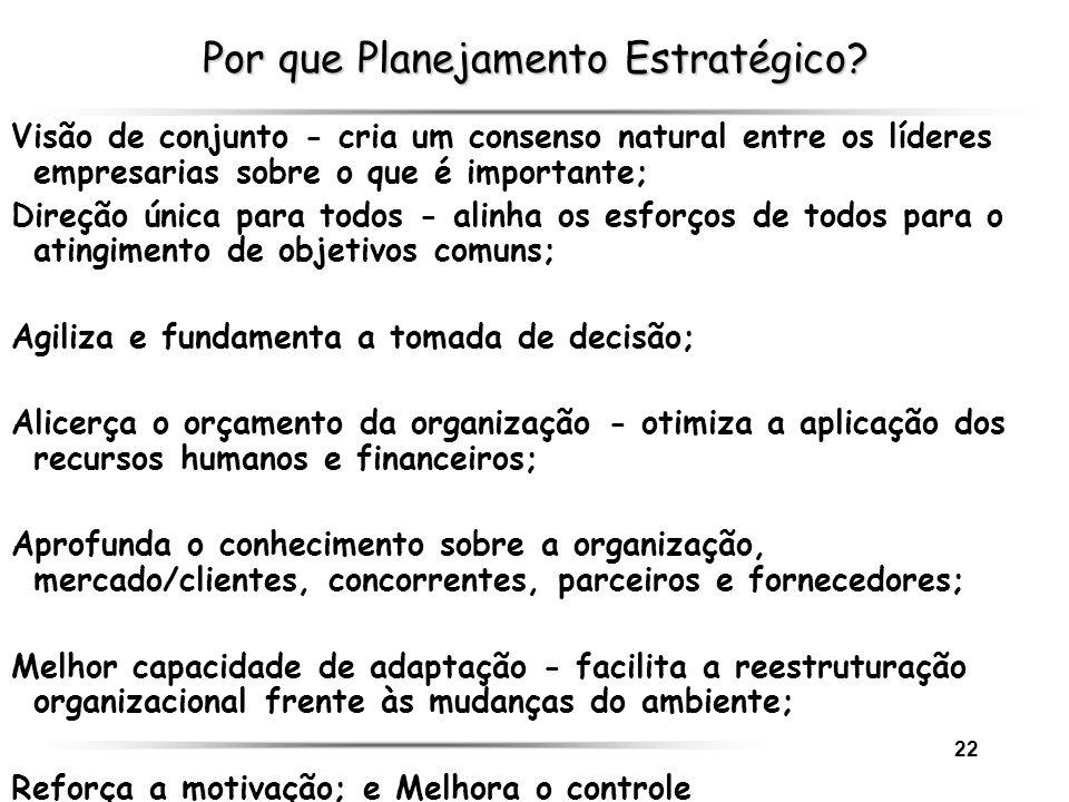22 Por que Planejamento Estratégico? Visão de conjunto - cria um consenso natural entre os líderes empresarias sobre o que é importante; Direção única