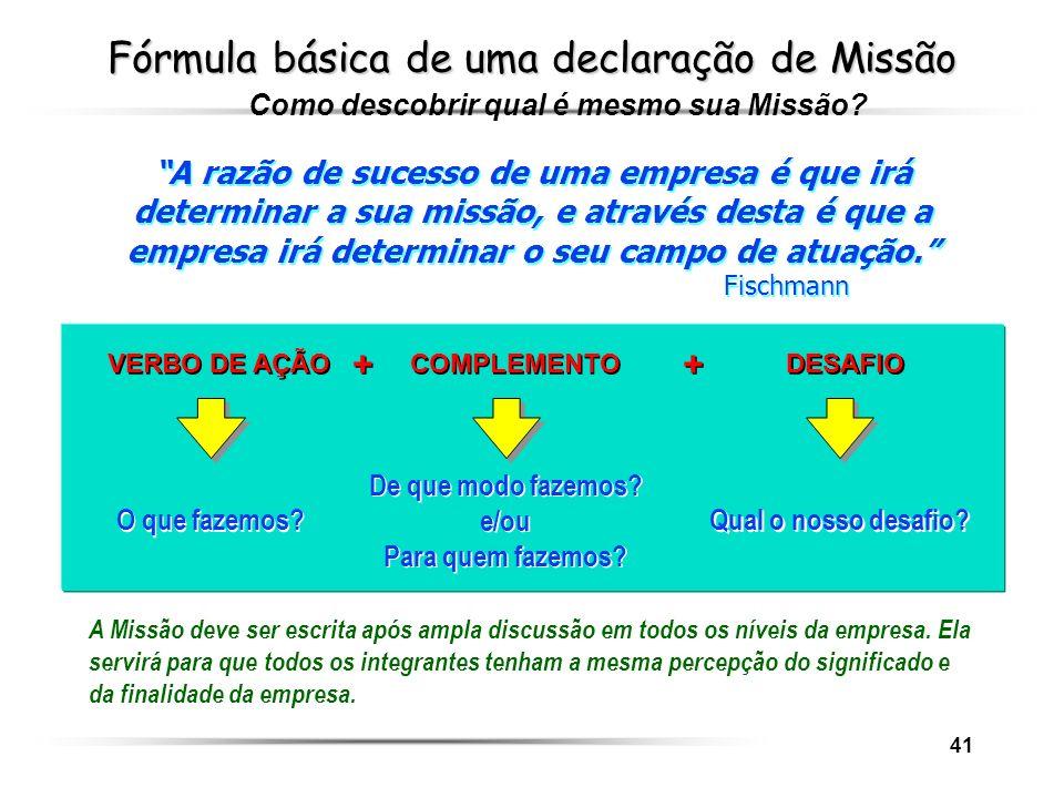 41 Fórmula básica de uma declaração de Missão A razão de sucesso de uma empresa é que irá determinar a sua missão, e através desta é que a empresa irá