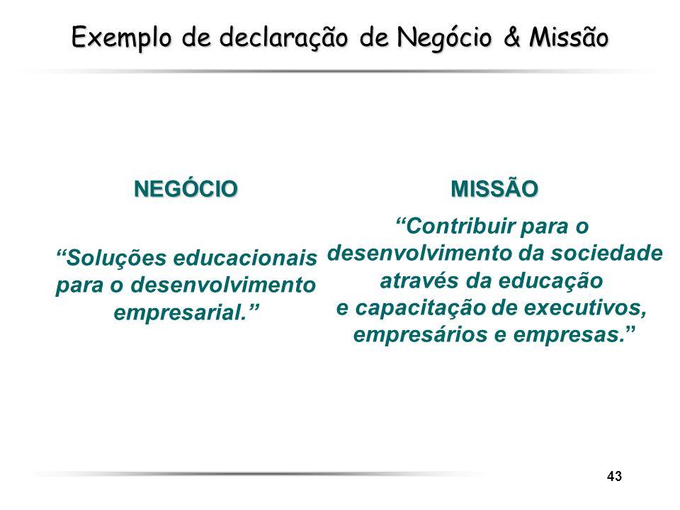 43 Exemplo de declaração de Negócio & Missão MISSÃO Contribuir para o desenvolvimento da sociedade através da educação e capacitação de executivos, em