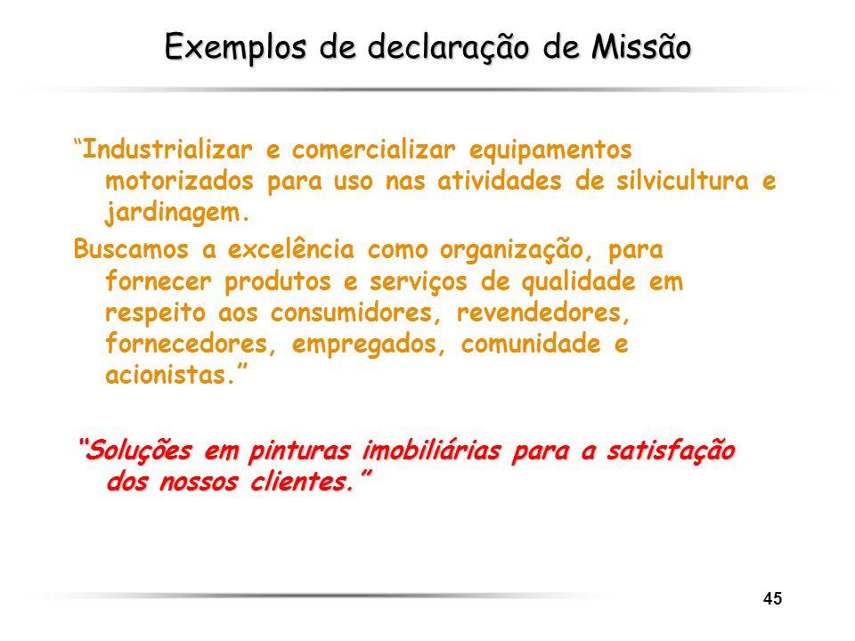 45 Exemplos de declaração de Missão Industrializar e comercializar equipamentos motorizados para uso nas atividades de silvicultura e jardinagem. Busc