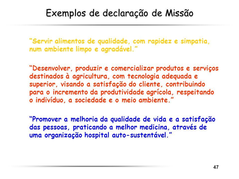 47 Exemplos de declaração de Missão Servir alimentos de qualidade, com rapidez e simpatia, num ambiente limpo e agradável. Desenvolver, produzir e com