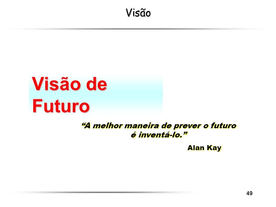 49Visão Visão de Futuro A melhor maneira de prever o futuro é inventá-lo. Alan Kay A melhor maneira de prever o futuro é inventá-lo. Alan Kay