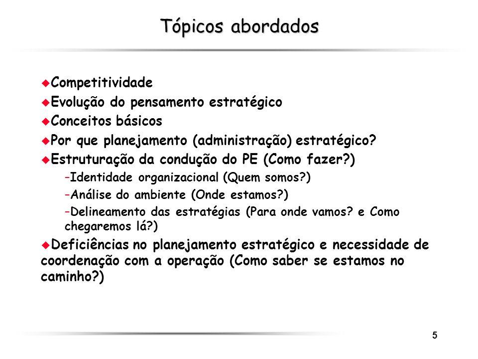 5 Tópicos abordados u Competitividade u Evolução do pensamento estratégico u Conceitos básicos u Por que planejamento (administração) estratégico? u E