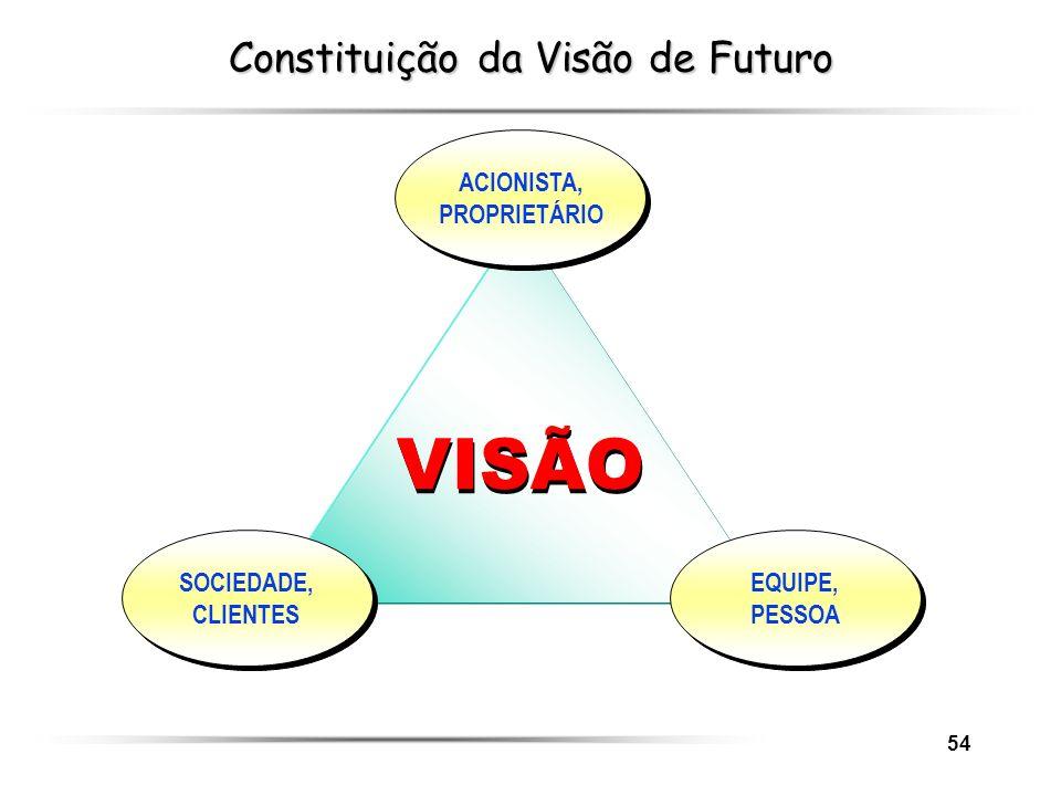54 Constituição da Visão de Futuro VISÃO EQUIPE, PESSOA SOCIEDADE, CLIENTES ACIONISTA, PROPRIETÁRIO