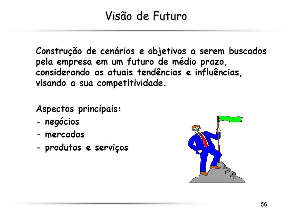 56 Visão de Futuro Construção de cenários e objetivos a serem buscados pela empresa em um futuro de médio prazo, considerando as atuais tendências e i