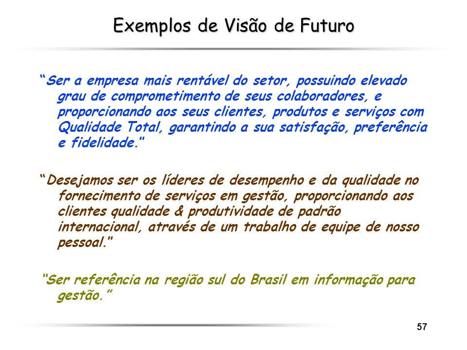 57 Exemplos de Visão de Futuro Ser a empresa mais rentável do setor, possuindo elevado grau de comprometimento de seus colaboradores, e proporcionando