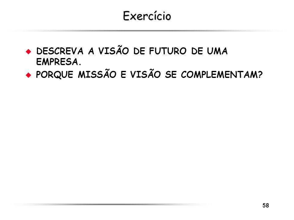 58 Exercício u DESCREVA A VISÃO DE FUTURO DE UMA EMPRESA. u PORQUE MISSÃO E VISÃO SE COMPLEMENTAM?