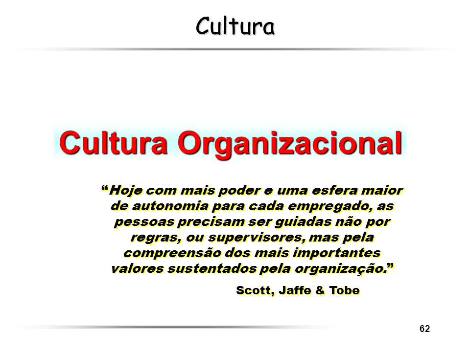 62 Cultura Cultura Organizacional Hoje com mais poder e uma esfera maior de autonomia para cada empregado, as pessoas precisam ser guiadas não por reg