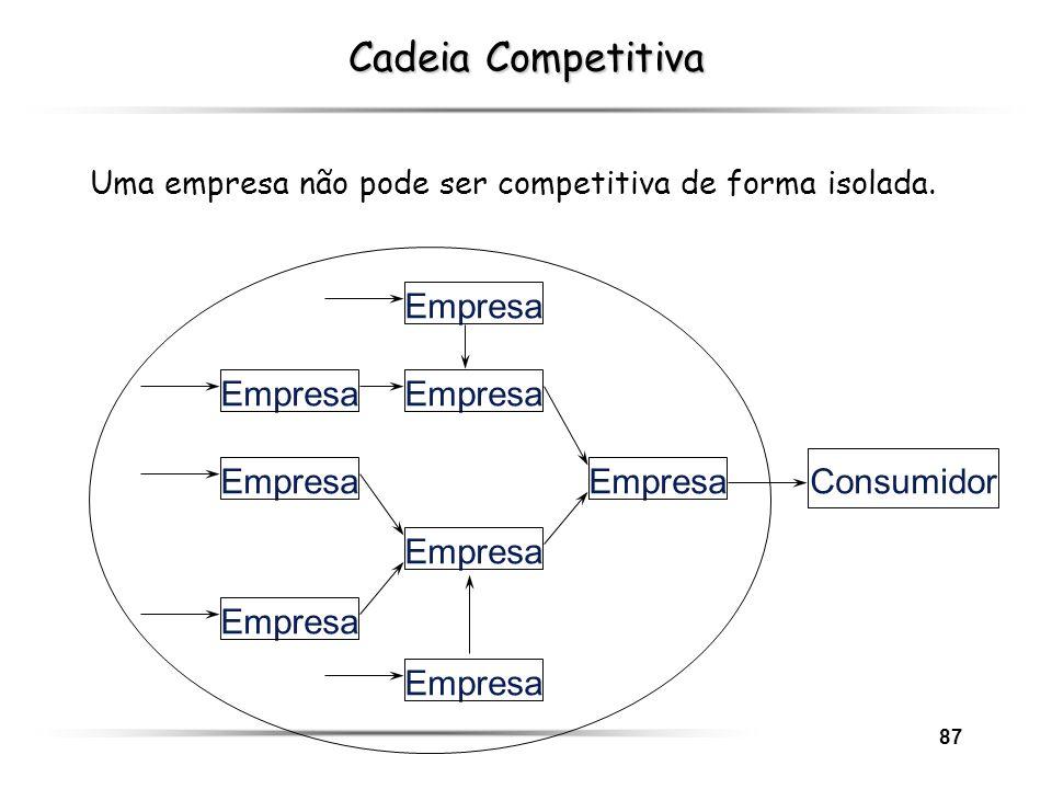 87 Empresa Consumidor Empresa Cadeia Competitiva Uma empresa não pode ser competitiva de forma isolada.