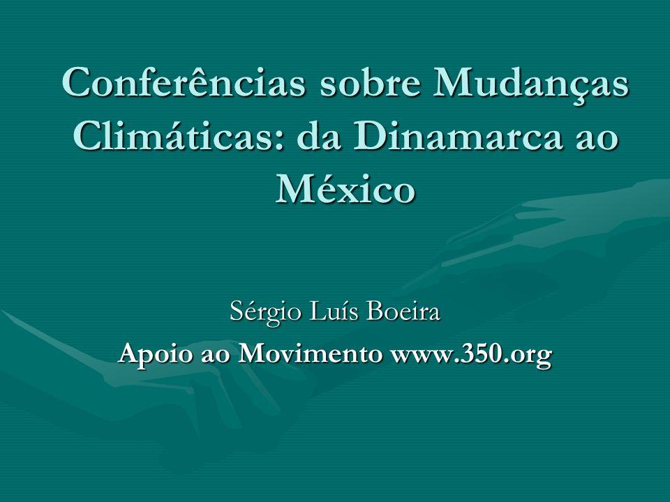 Conferências sobre Mudanças Climáticas: da Dinamarca ao México Sérgio Luís Boeira Apoio ao Movimento www.350.org